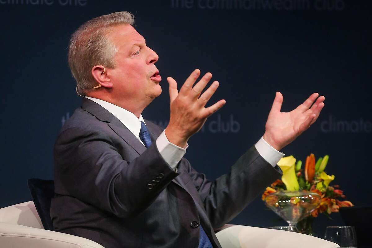 """Former Vice President Al Gore answers a question from the audience during a talk hosted by the Commonwealth Club on the eve of his new documentary """"AN INCONVENIENT SEQUEL: TRUTH TO POWER"""" at the Marines' Memorial Theatre in San Francisco, Calif., on Monday, July 24, 2017."""
