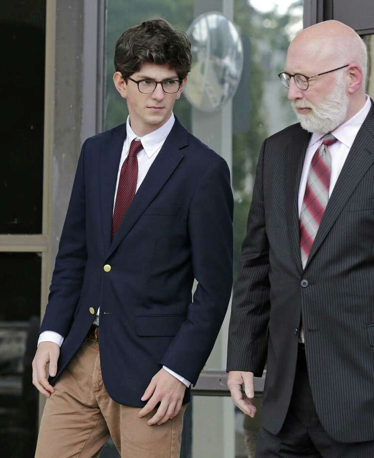 Former St. Paul's School student Owen Labrie leaves court with his attorney, J.W. Carney, at Merrimack Superior Court in Concord, N.H., Wednesday, Aug. 26, 2015. Labrie is charged with raping a 15-year-old freshman as part of Senior Salute, in which seniors try to romance and have intercourse with underclassmen before leaving the prestigious St. Paul's School in Concord. The defense contends the two had consensual sexual contact, but not intercourse. Photo: AP Photo/Charles Krupa, Pool    / POOL AP
