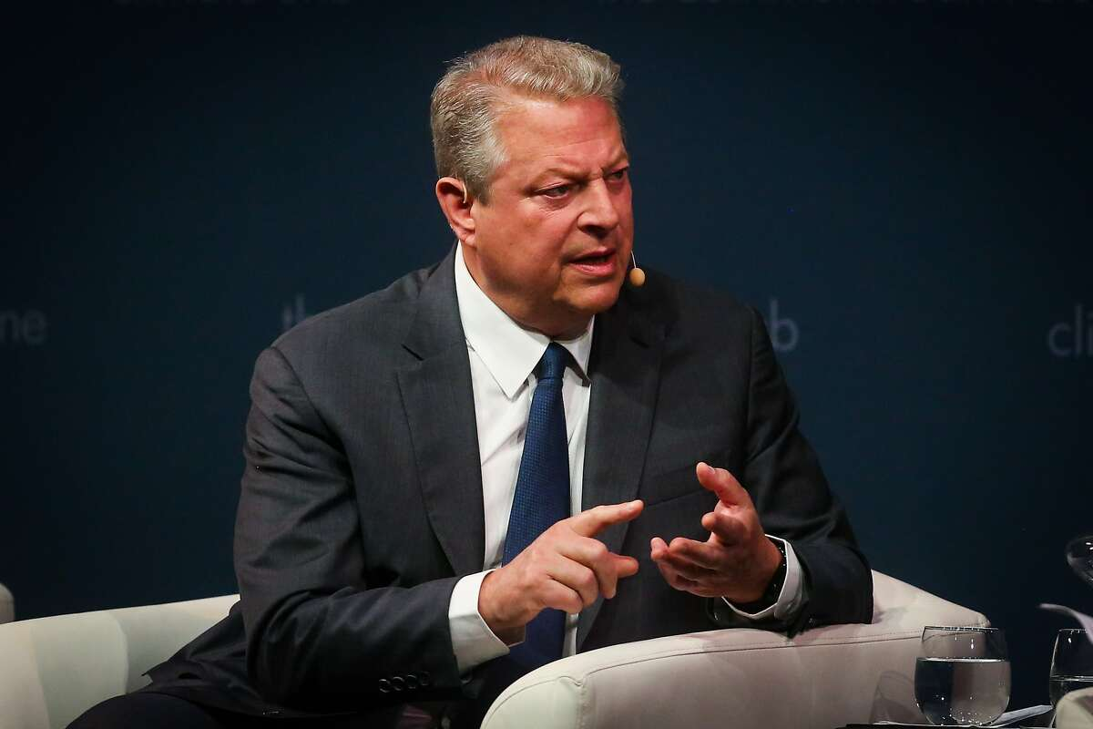 """Former Vice President Al Gore answers questions during a talk hosted by the Commonwealth Club on the eve of his new documentary """"AN INCONVENIENT SEQUEL: TRUTH TO POWER"""" at the Marines' Memorial Theatre in San Francisco, Calif., on Monday, July 24, 2017."""