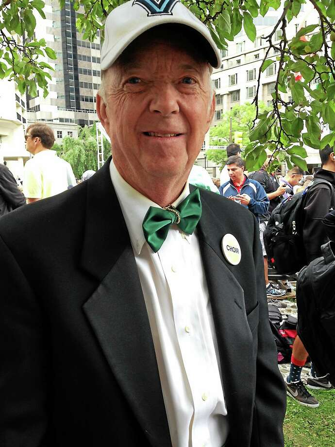 Jack McMenamin was among those waiting for a chance to see Pope Francis. Photo: ERIC DEVLIN — DIGITAL FIRST MEDIA
