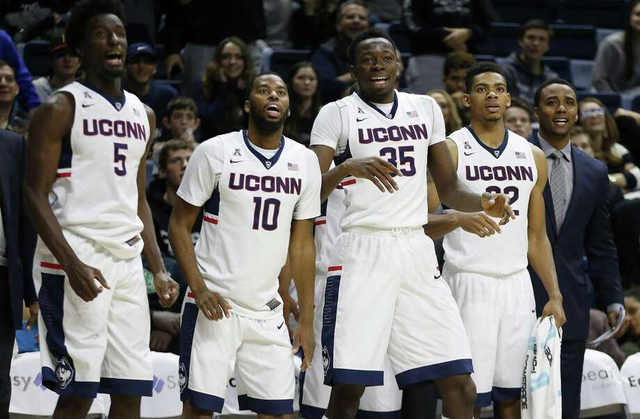 Daniel Hamilton (5), Sam Cassell Jr. (10), Amida Brimah (35), Shonn Miller (32) and UConn have three games in three days at the Battle 4 Atlantis. Photo: Michael Dwyer — The Associated Press   / AP