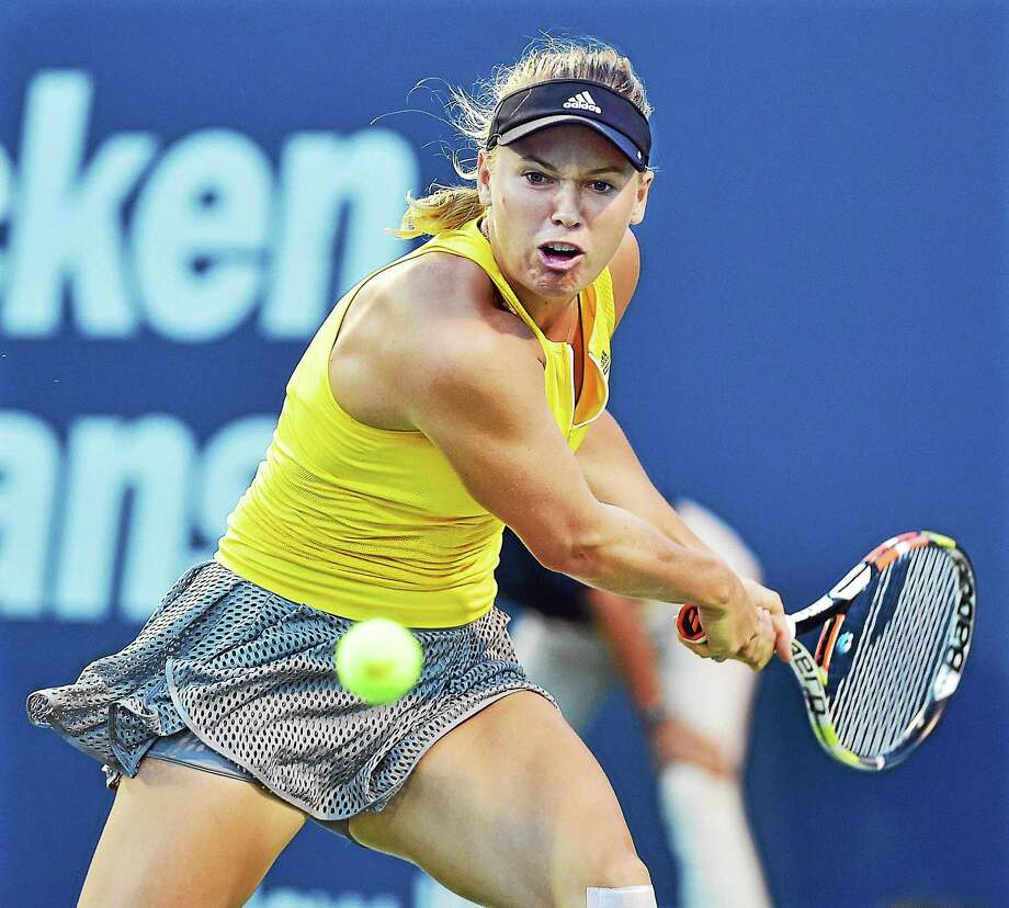 Denmark's Caroline Wozniacki defeats Alison Riske (USA), 6-0, 6-2,  to win the match, Tuesday, August 25, 2015 at the Connecticut Open at the Connecticut Tennis Center at Yale in New Haven. (Catherine Avalone/New Haven Register) Photo: Journal Register Co. / Catherine Avalone/New Haven Register