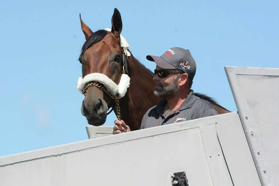 Triple Crown winner American Pharoah arrives Wednesday at Albany International Airport in Colonie, N.Y. Photo: Patrick Dodson — The Daily Gazette   / The Daily Gazette