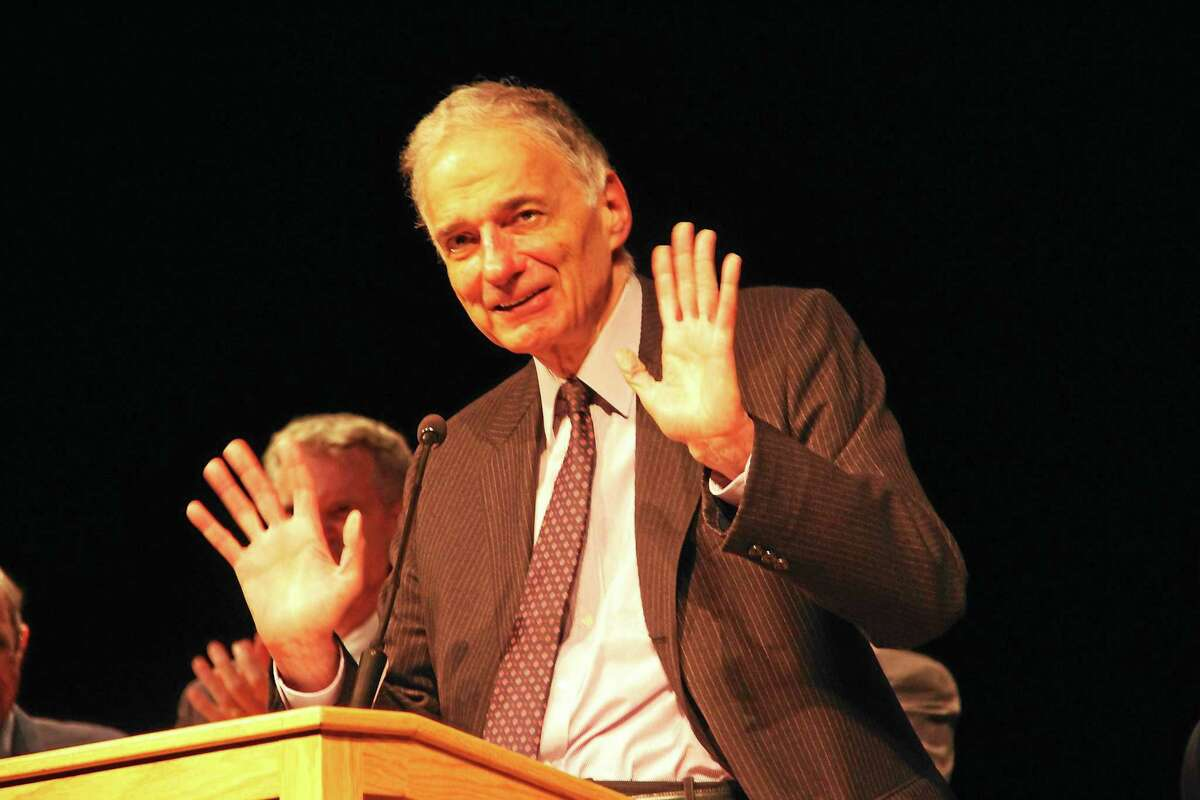 Ralph Nader speaks during the convocation of his American Museum of Tort Law during a ceremony held Saturday in the Gilbert High School auditorium after the official opening of the Winsted museum.