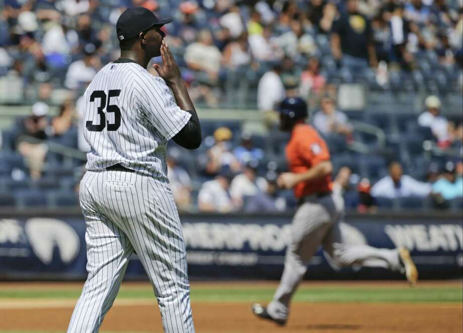 Yankees starter Michael Pineda reacts as the Houston Astros' Evan Gattis runs the bases after hitting a home run during the second inning of Wednesday's game in New York. Photo: Frank Franklin II — The Associated Press   / AP