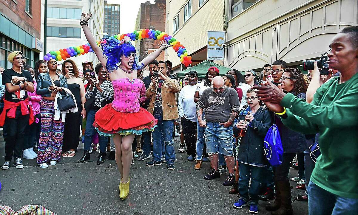 Drag queen Summer Orlando, of the The Imperial Sovereign Court of All Connecticut, Inc. performs at the Pride New Haven Block Party, sponsored by the New Haven Pride Center, Saturday, September 26, 2015, on Center Street in downtown New Haven.
