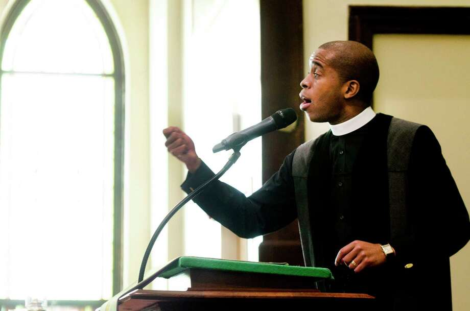 Pastor Eldren Morrison gives  sermon at Varick Memorial AME Zion Church. Photo: Melanie Stengel — New Haven Register File Photo