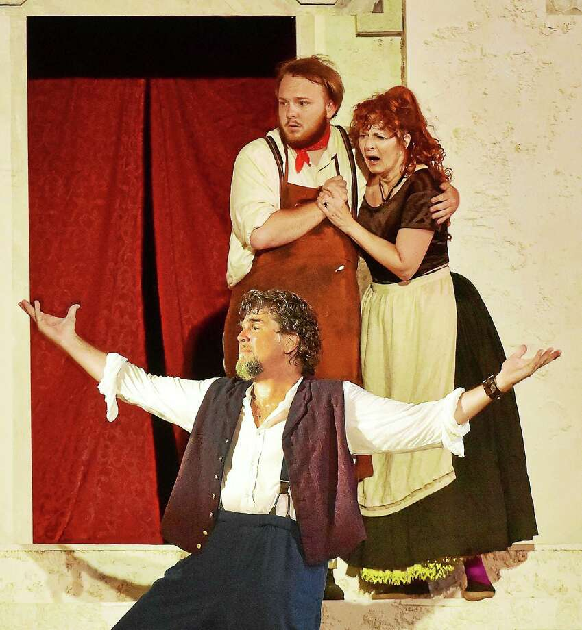 "James Andreassi as Sir Toby Belch, front, Shawn Tyler Allen as Fabian and Paula Plum as Maria in Elm Shakespeare Company's ""Twelfth Night"" at Edgerton Park in New Haven. Photo: Catherine Avalone- New Haven Register   / Catherine Avalone/New Haven Register"
