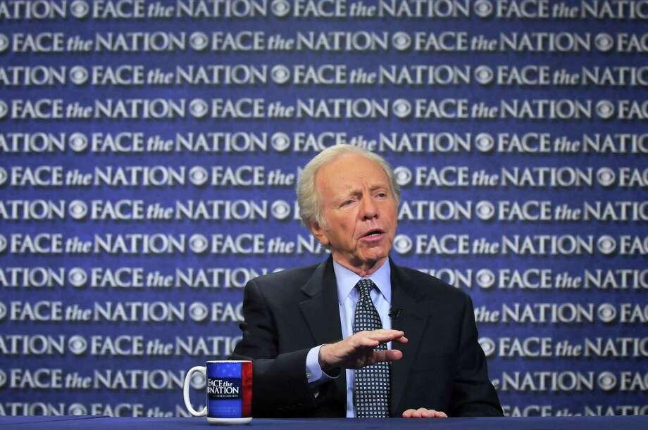 "In this Sunday, April 22, 2012, photo provided by CBS News, then-Sen. Joseph Lieberman, I-Conn., speaks on CBS's ""Face the Nation"" in Washington. Photo: AP Photo/CBS News, Mary F. Calvert   / CBS News"