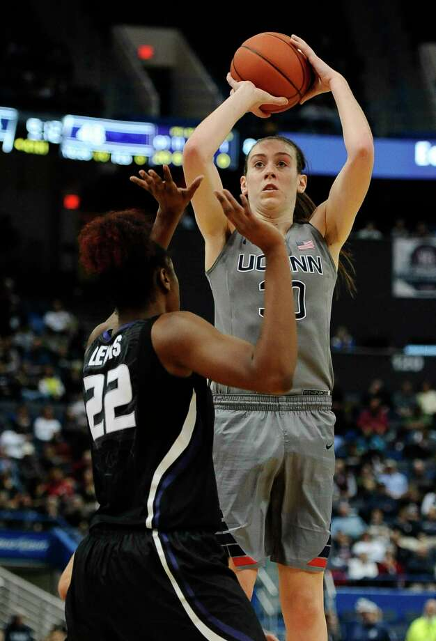 UConn's Breanna Stewart shoots over Kansas State's Breanna Lewis during the second half Monday. Photo: Jessica Hill — The Associated Press   / FR125654 AP