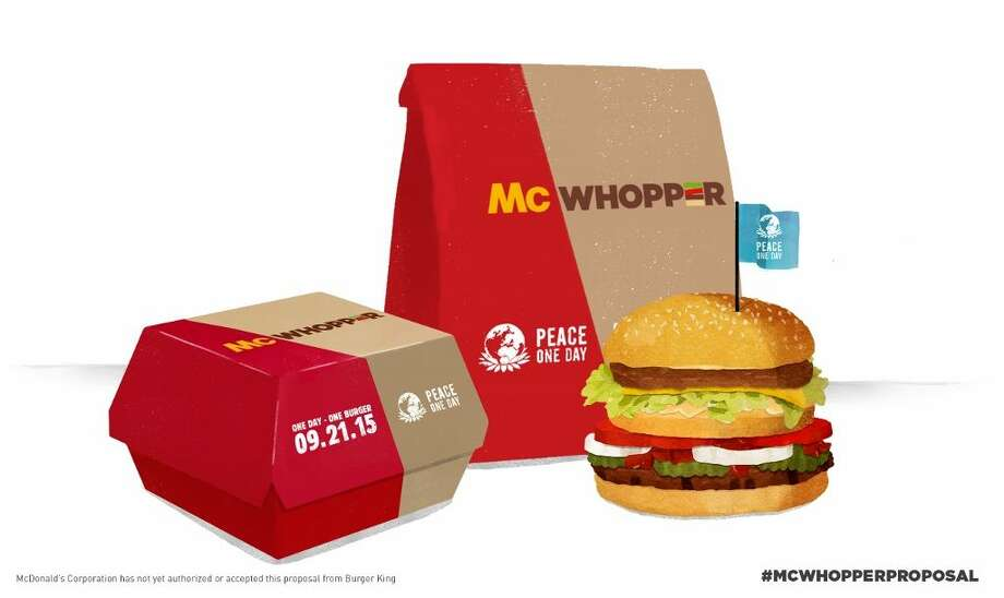 """This photo provided by Burger King shows a """"McWhopper"""". In full-page newspaper ads Wednesday, Aug. 26, 2015, Burger King said it ís calling for a truce with McDonald's so that they can create a mashup of their most famous burgers, the Big Mac and the Whopper. Burger King is tying the publicity stunt to a nonprofit called Peace One Day, which says it promotes Peace Day. Photo: Burger King Via AP  / Burger King"""