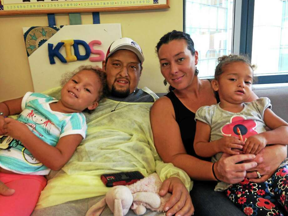 The Ramos family at Yale New Haven Hospital. Bill Ramos is waiting for a liver transplant. Photo: Don Bamberg