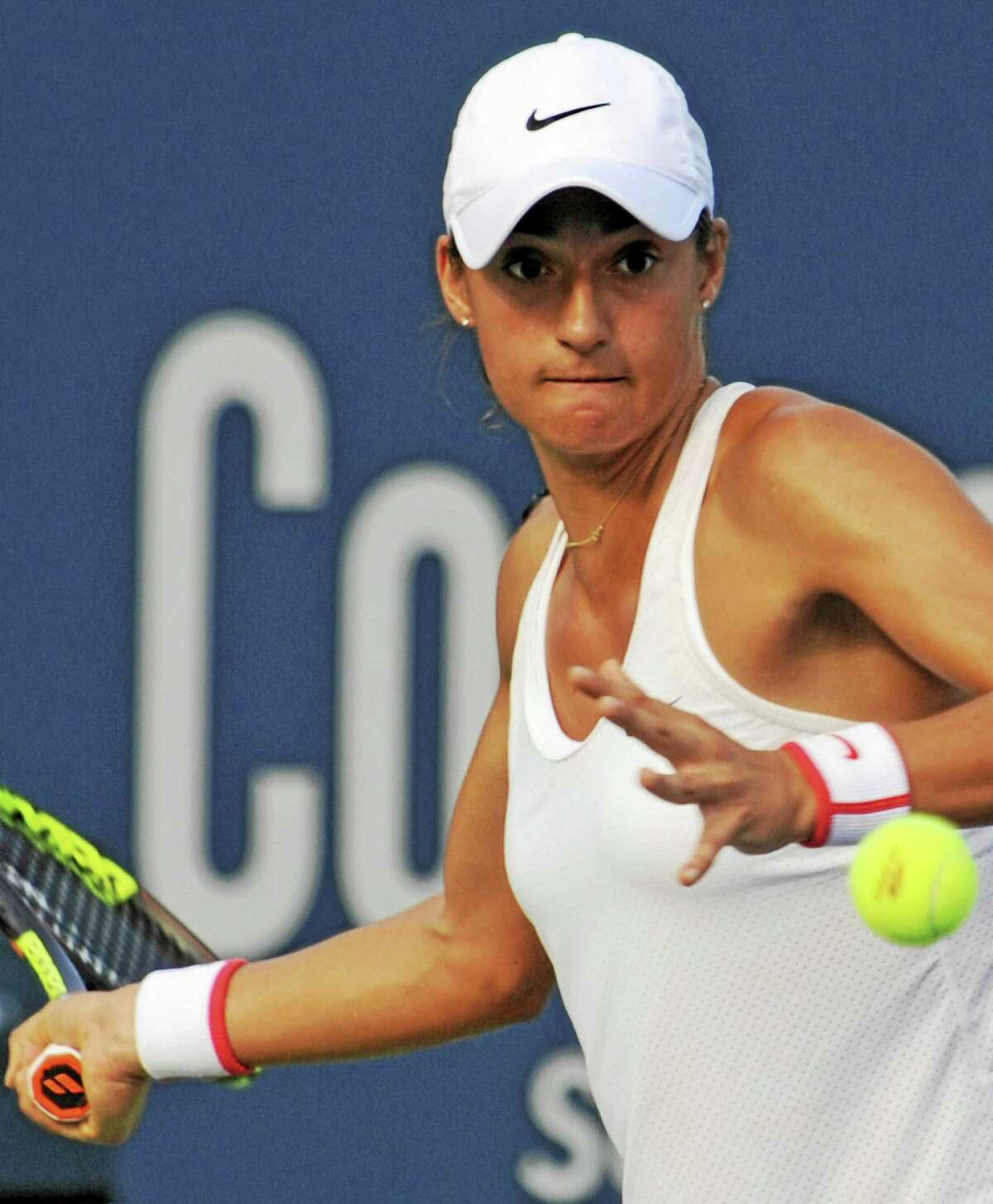 Bob Child - For the Register France's Caroline Garcia gets set to hit a return to Slovaki's Magdalena Rybarikova.
