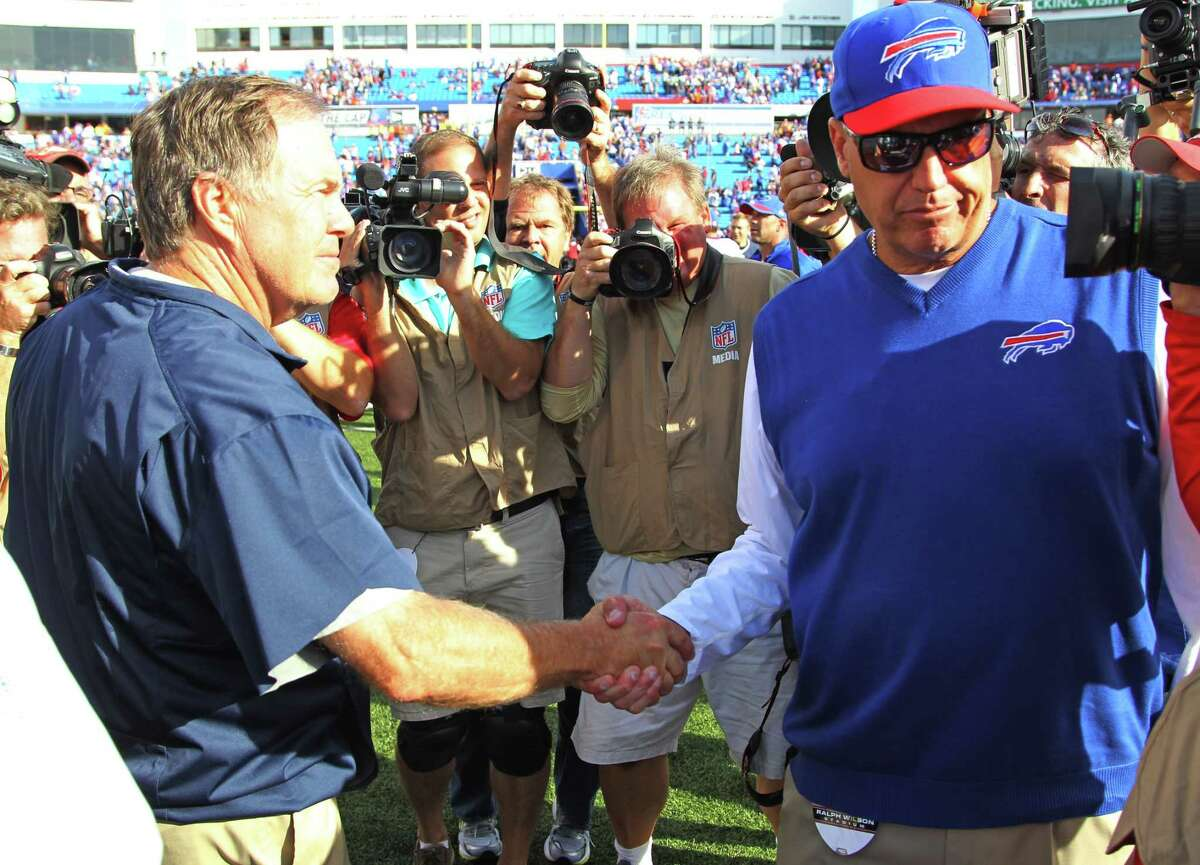 Patriots head coach Bill Belichick shakes hands with Bills head coach Rex Ryan after their game earlier this season. The two teams meet agains on Monday night.