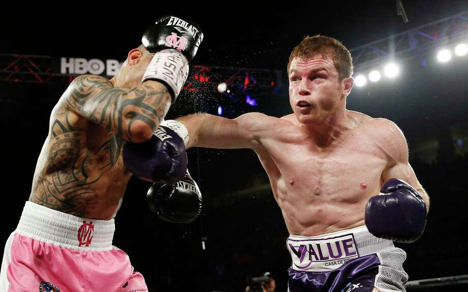 Canelo Alvarez hits Miguel Cotto during their WBC middleweight title bout on Saturday. Alvarez won by unanimous decision. Photo: John Locher — The Associated Press   / AP