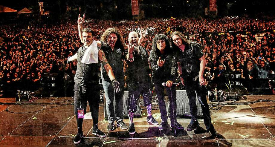 Photo by Ignacio Galvez  Anthrax members Charlie Benante, Frank Bello, Scott Ian, Joey Belladonna, Jon Donais kick off a global tour Aug. 28, which includes a show at Toyota Presents Oakdale Theatre in Wallingford. Photo: Journal Register Co.