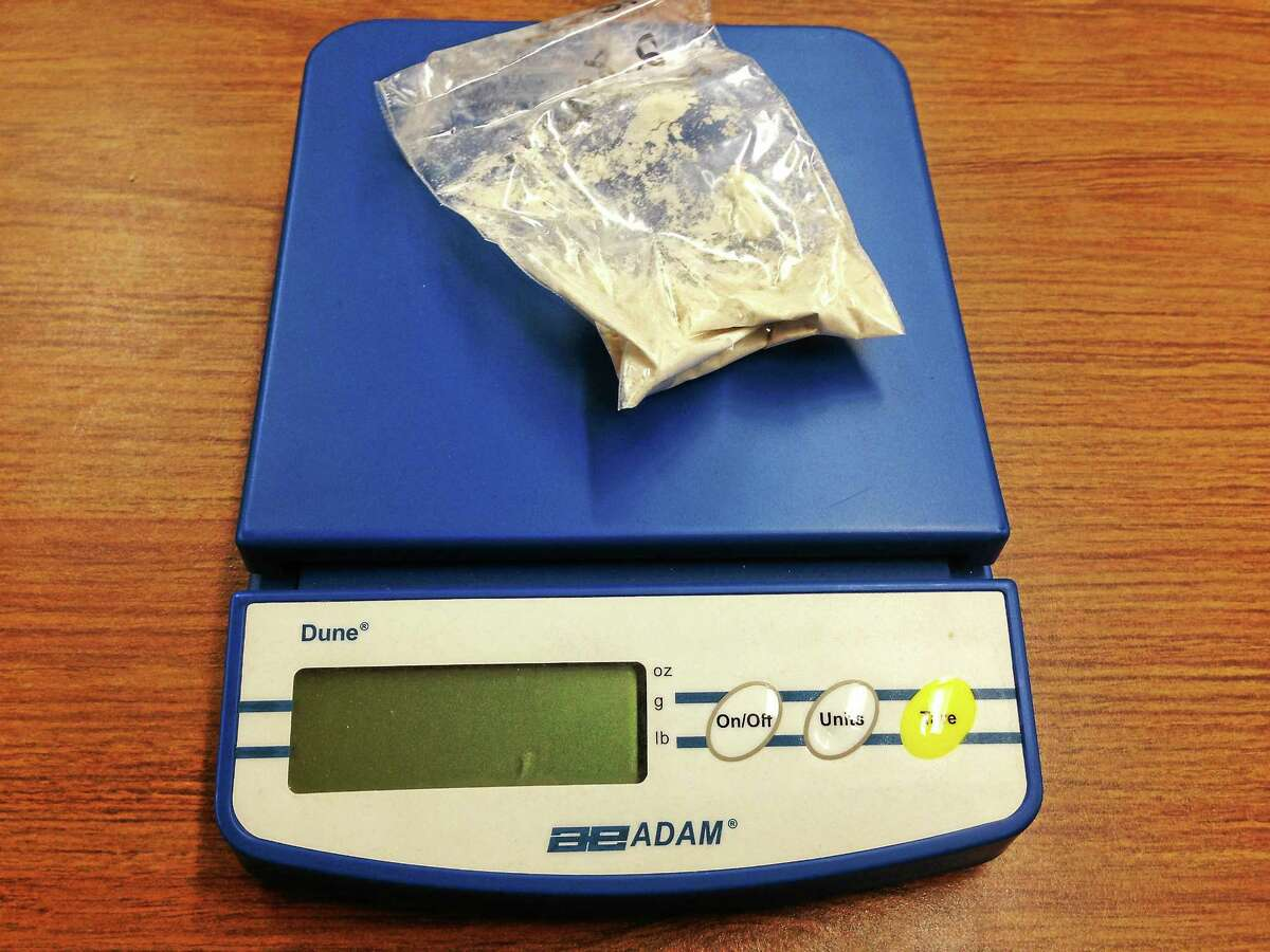 (Ryan Flynn- New Haven Register) Heroin from the New Haven Police Department Narcotics Unit, used to train drug sniffing dogs.