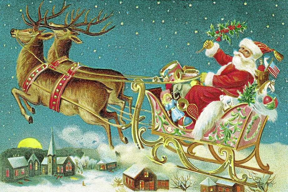 Illustration of Santa Claus and reindeer with flying sleigh Photo: Getty Images/Comstock Images / Comstock Images