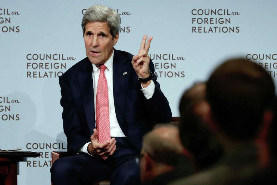 Secretary of State John Kerry speaks on the Iran nuclear deal at the Council on Foreign Relations in New York Friday. Kerry is taking the Obama administration's defense of the Iran nuclear deal on the road. Photo: AP Photo   / AP