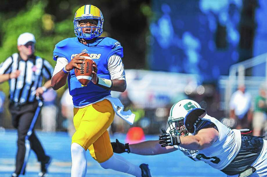 New Haven quarterback Ajee Patterson and the Chargers still have their eyes on the Northeast-10 Conference title. Photo: Photo Courtesy Of New Haven Athletics   / © 2015 Clarus Studios Inc.u