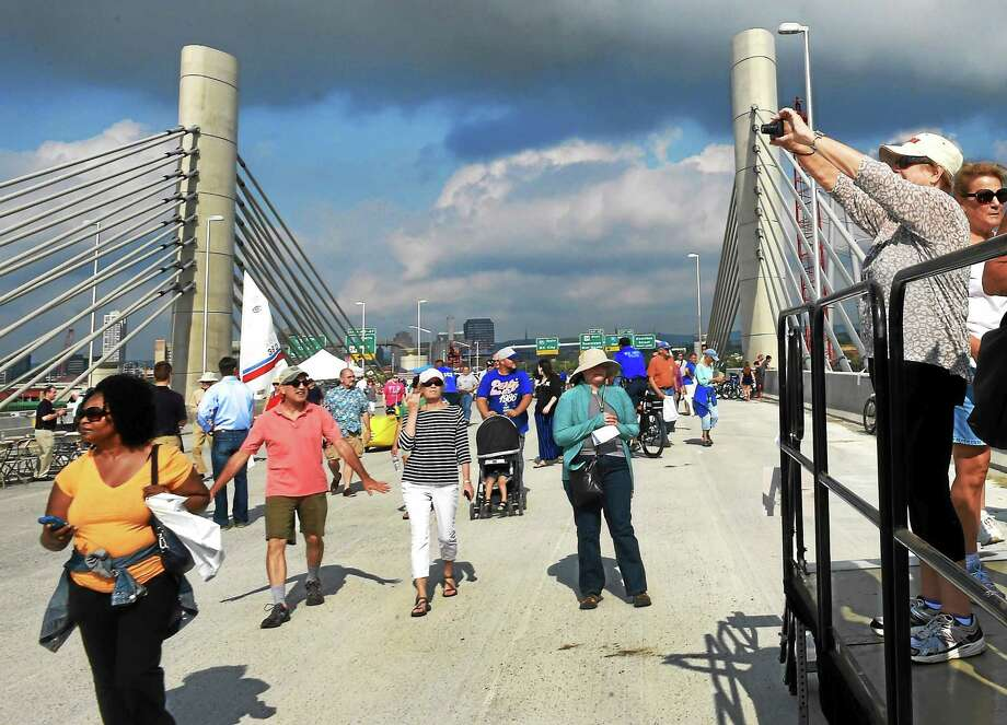 The Connecticut DOT allowed visitors to walk across the new  southbound Pearl Harbor Memorial Bridge on I-95 during its grand opening celebration Saturday morning in New Haven. Photo: Peter Hvizdak — New Haven Register   / ?2015 Peter Hvizdak