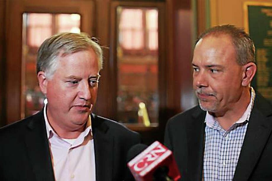 House Speaker Brendan Sharkey and Majority Leader Joe Aresimowicz Photo: Christine Stuart — CT News Junkie