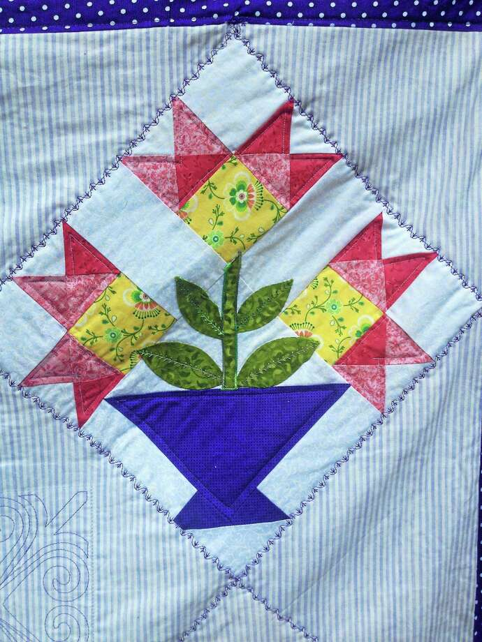 A square of the quilt by Sue Yamaguchi that will be raffled at a quilt show put in by Orange Congregational Church. Photo: Contributed Photo