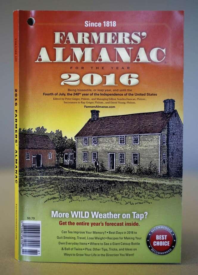 A copy of the 2016 Farmers' Almanac, photographed in Portland, Maine on Aug. 14, 2015. Photo: AP Photo/Robert F. Bukaty, File   / AP