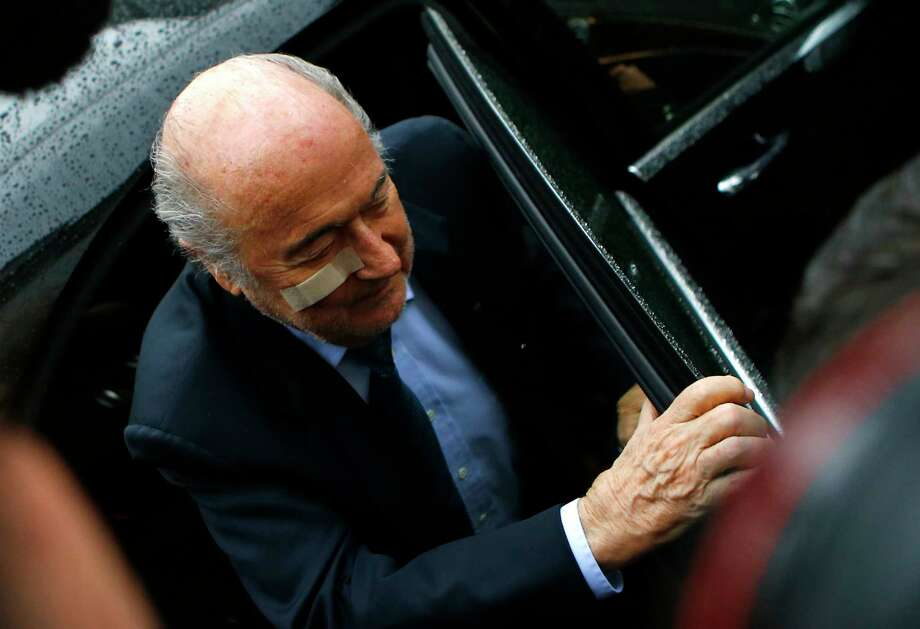 Suspended FIFA President Sepp Blatter arrives for a news conference in Zurich, Switzerland on Dec. 21, 2015 after being banned for 8 years from all football related activities. Photo: AP Photo/Matthias Schrader   / AP