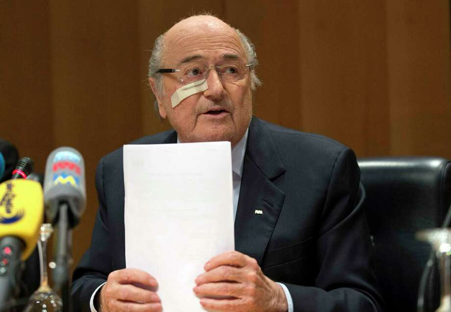 Suspended FIFA President Sepp Blatter answers to questions during his press conference to respond to the FIFA ethics committee's verdict on Monday. Photo: The Associated Press   / Keystone