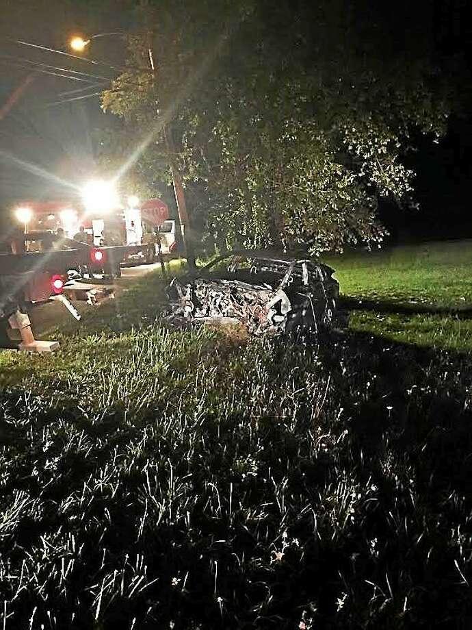 Crash site off Baldwin Road in Woodbridge Photo: Photo Courtesy Of Woodbridge Police Dept.
