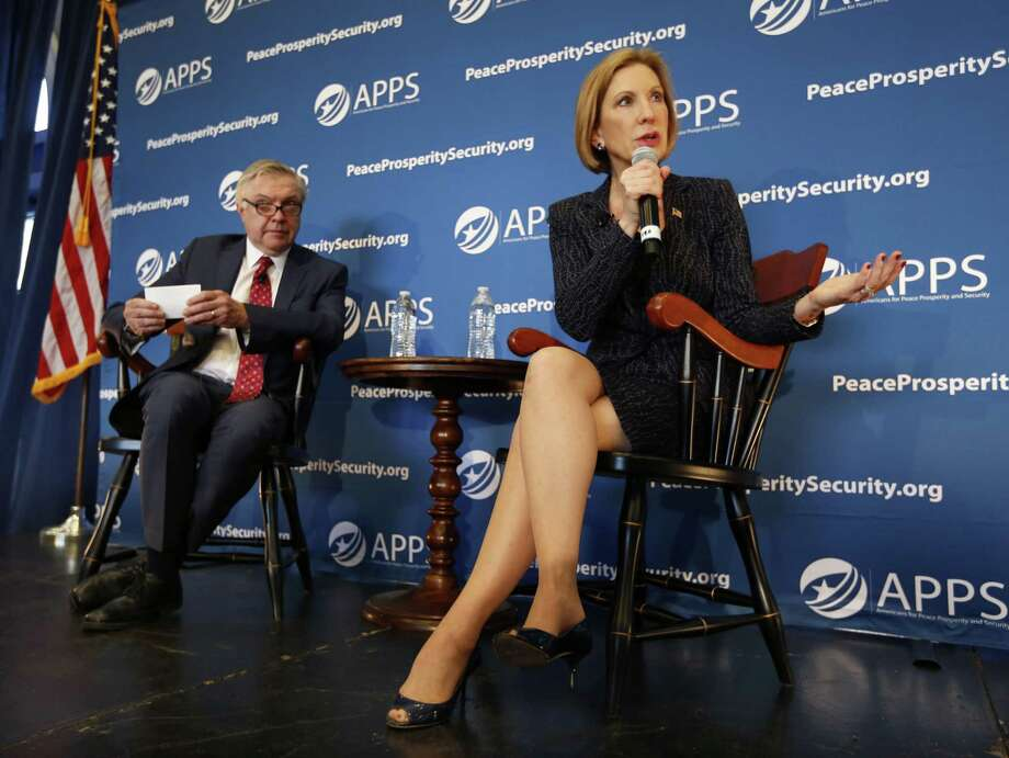 Republican presidential candidate, businesswoman Carly Fiorina, speaks during a town hall meeting concerning foreign affairs Sept. 22 at Johnson Hagood Stadium on the campus of The Citadel in Charleston, S.C. Photo: AP Photo   / FR2 AP