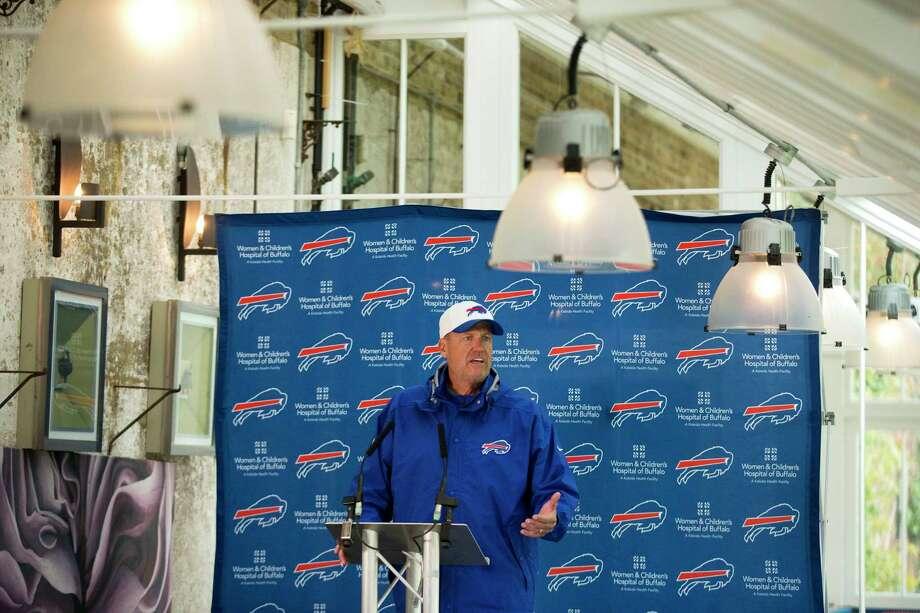 Buffalo Bills head coach Rex Ryan speaks during a press conference Thursday at the Grove Hotel in Chandler's Cross, England. Photo: Matt Dunham — The Associated Press   / AP