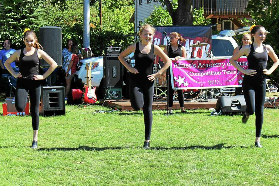 Jean Falbo-Sosnovich/Register  The high-stepping dancers of Aimee's Academy of Dance at the festival. Photo: Journal Register Co.