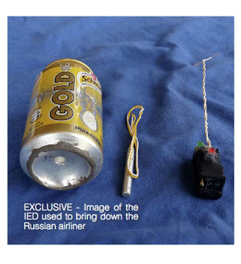 This undated image made available in the Islamic State's English-language magazine Dabiq, Wednesday, Nov. 18, 2015, claims to show the bomb that was used to blow up a Metrojet passenger plane bound for St. Petersburg, Russia, that crashed in Hassana, north Sinai, Egypt, killing all 224 people on board. Photo: Militant Photo Via AP    / Dabiq Magazine