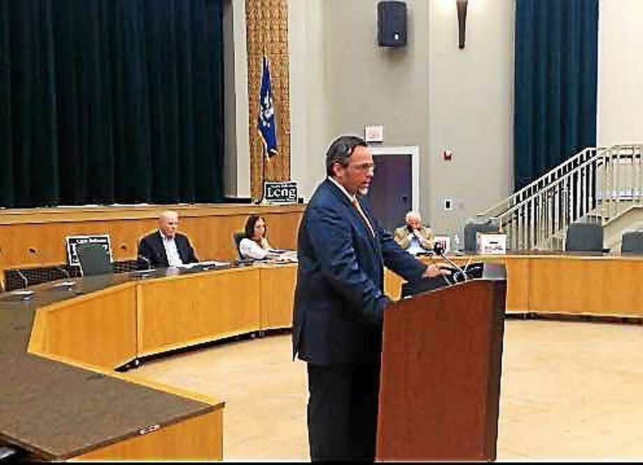 Mayor Curt Balzano Leng accepts the nomination for a full two-year term Wednesday at Memorial Town Hall in Hamden. Photo: KATE RAMUNNI — NEW HAVEN REGISTER
