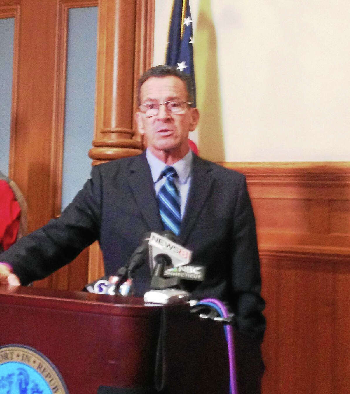 Gov. Dannel P. Malloy, speaking in New Haven, said the U.S. has a moral obligation to take in Syrian families.