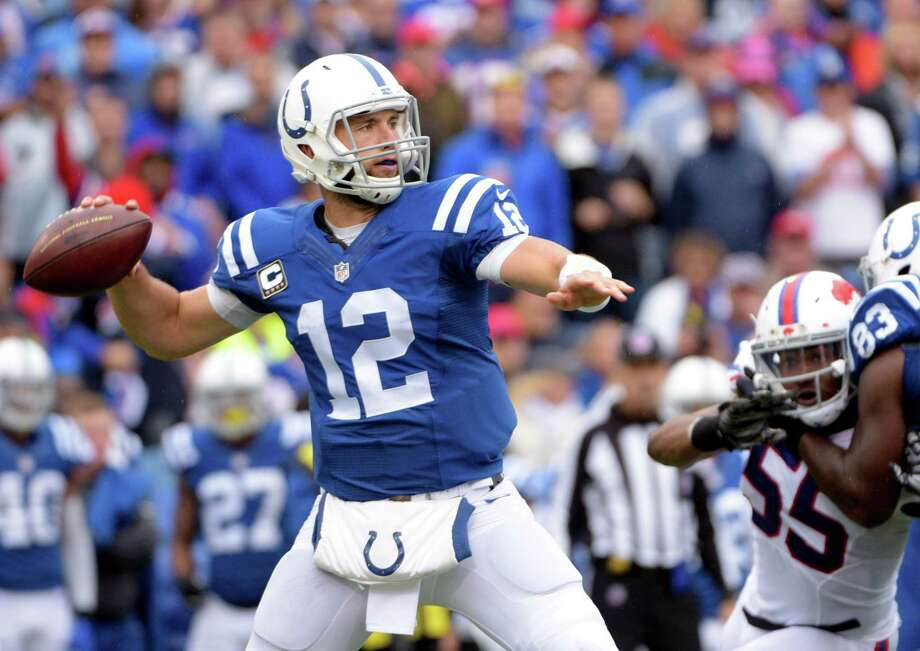 Quarterback Andrew Luck and the Colts will take on the Jets on Monday night. Photo: Gary Wiepert — The Associated Press   / FR170498 AP