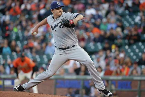 San Diego Padres starting pitcher Trevor Cahill works during the first inning of the team's baseball game against the San Francisco Giants on Friday, July 21, 2017, in San Francisco.
