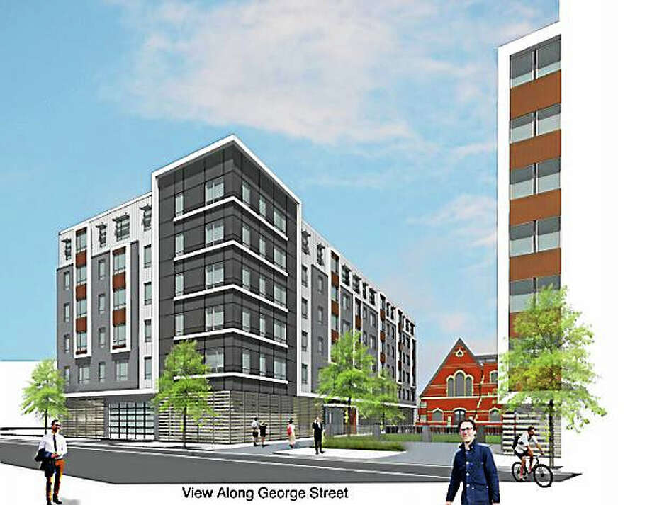 Contributed rendering of the 55-unit building with five floors with screened parking on the first floor facing George Street. Photo: Journal Register Co.