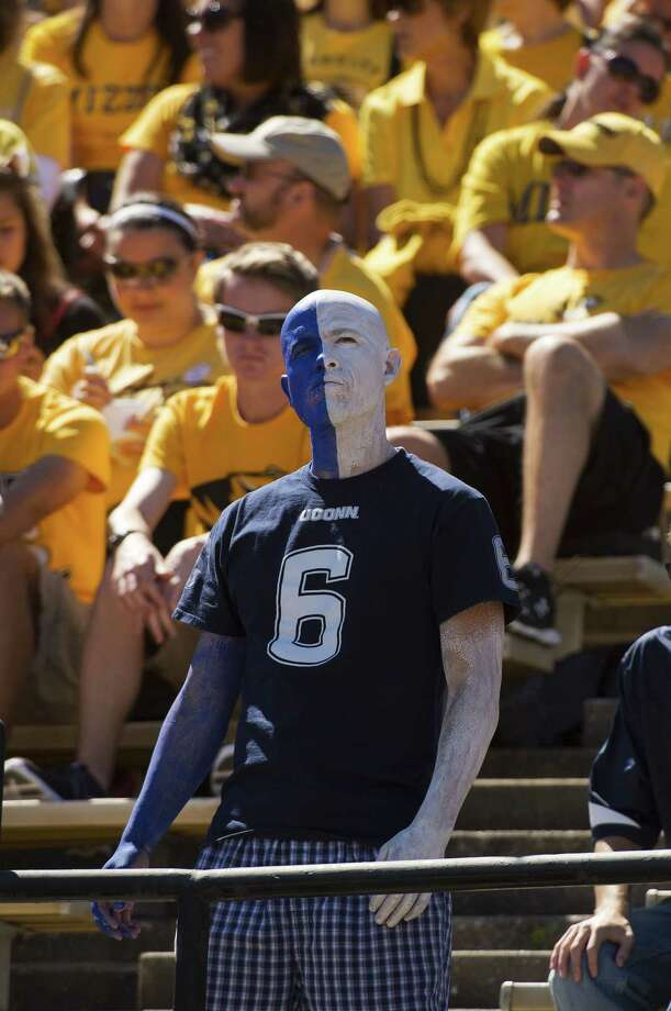 A lone UConn fan watches the Huskies lose to Missouri 9-6 on Saturday in Columbia. Photo: L.G. Patterson — The Associated Press   / FR23535 AP