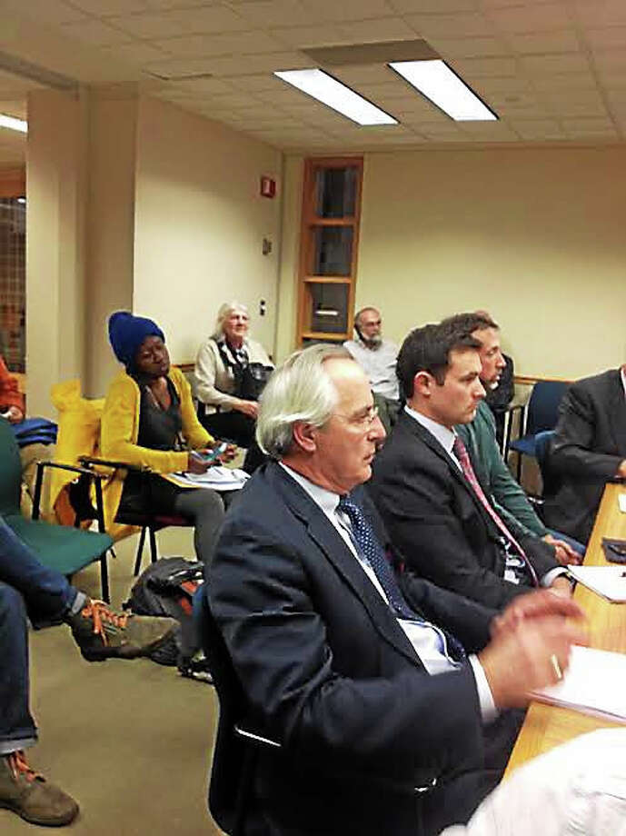Attorney Edward Spinella, left, represented Murphy Road Recycling at City Plan. Photo: Mary O'Leary — New Haven Register
