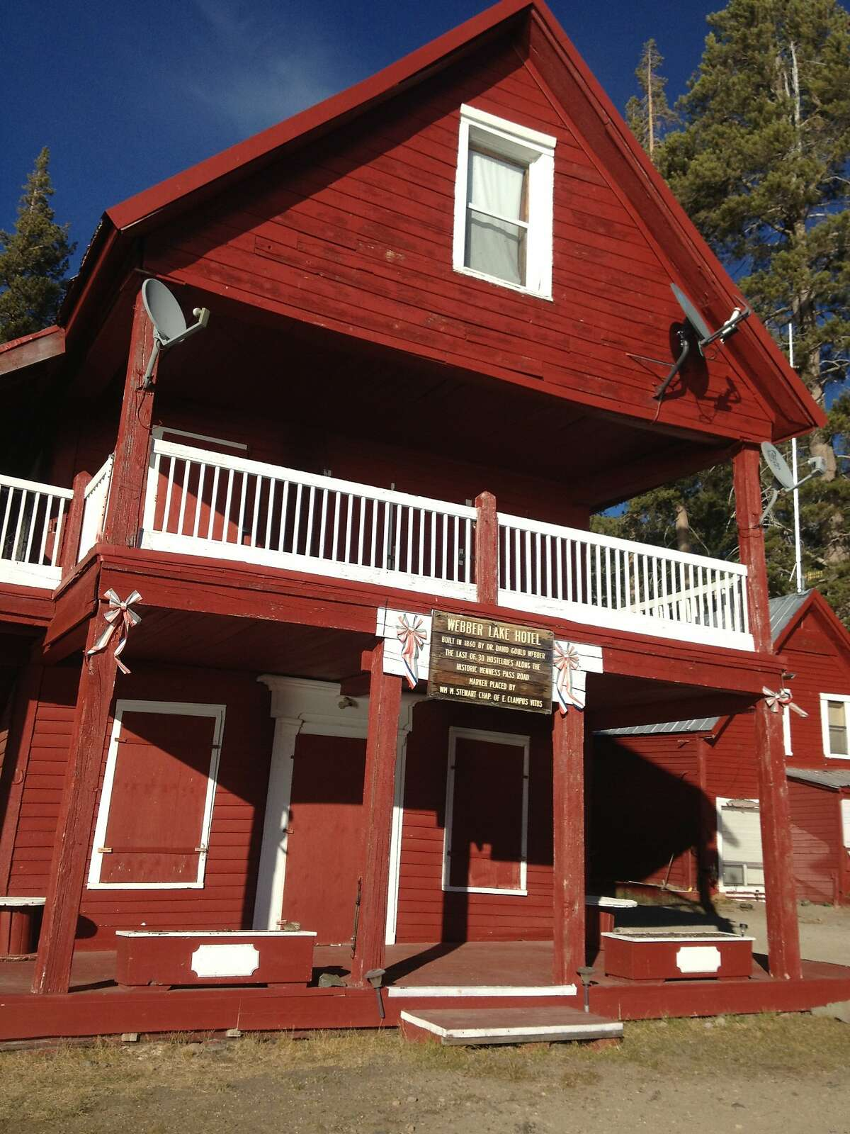 The restored Webber Lake Hotel, built in the 1860s on Webber Lake in the high Sierra north of Truckee -- once a famous destination for tourists arriving by stagecoach and miners by horse