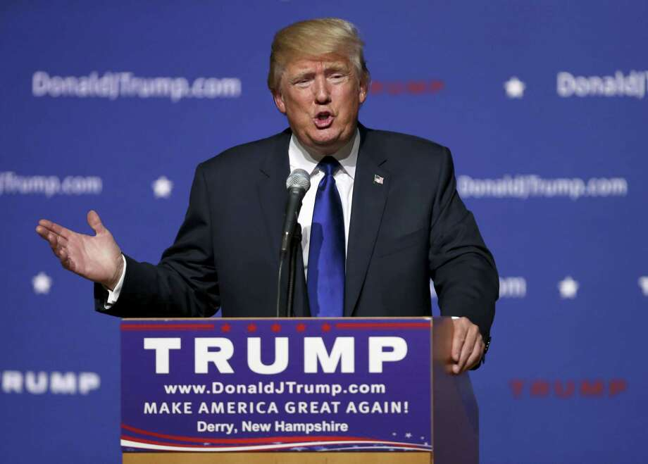 """In this Aug. 19, 2015, file photo, Republican presidential candidate and businessman Donald Trump speaks in Derry, N.H. Trump sells himself as a bold empire builder. Yet, for all his bravado — """"I've done an amazing job,"""" the Republican White House hopeful boasted during his announcement speech — a review of the billionaire's financial filings and recent deals suggests he's no swashbuckler. Photo: AP Photo/Mary Schwalm, File / FR158029 AP"""