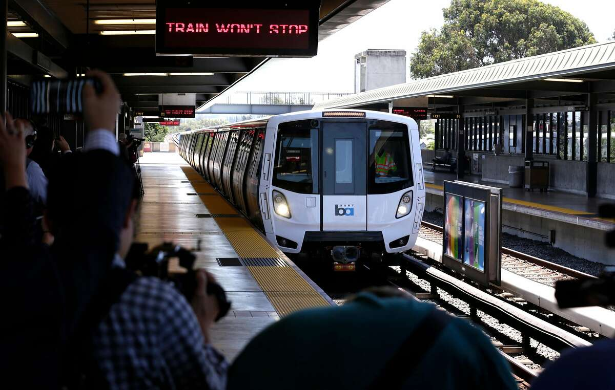 FILE-- BART shows off one of their new trains to the media at the South Hayward station as seen on Mon. July 23, 2017. BART officials are looking at overhauling their parking policies to allow prices that increase or decrease depending on demand and using license-plate readers to determine who's paid for a space and who gets a citation.