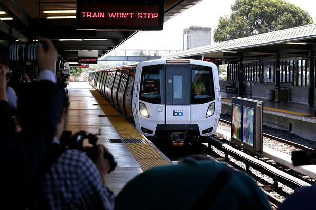 BART shows off one of their new trains to the media at the South Hayward station, Ca., as seen on Mon. July 23, 2017.