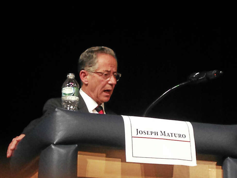 East Haven Republican Mayor Joseph Maturo Jr. at Tuesday night's debate at East Haven High School Photo: Juliemar Ortiz — New Haven Register