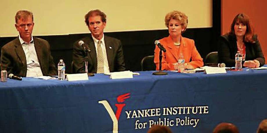 Ned Lamont, Sen. L. Scott Frantz, Carol Platt Liebau, and Suzanne Bates CTNJ state employee Photo: PHOTO BY CHRISTINE STUART