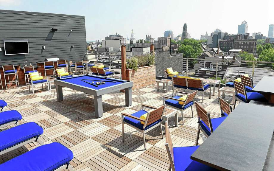 The rooftop deck of The Novella apartment building in New Haven. Photo: Arnold Gold — New Haven Register
