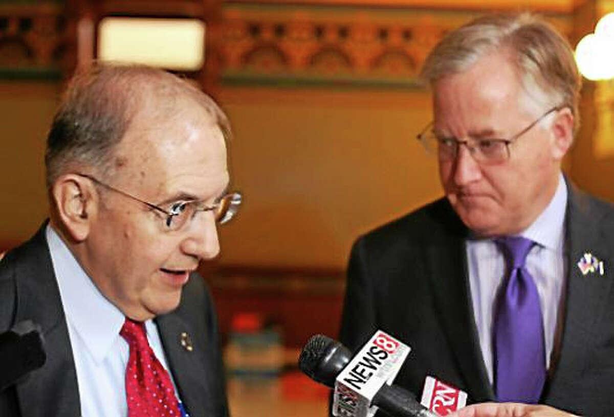 Senate President Martin Looney and House Speaker Brendan Sharkey earlier this week after budget negotiations